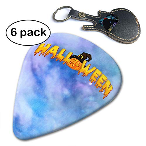 JAWANNA Halloween Guitar Picks, 351 Shape Classic Picks (6 Pack) Celluloid Unique and Stylish Design, for Guitar Bass Includes Thin, Medium & Heavy Gauges