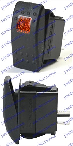 Contura II Soft Black 12 Volt 20 Amp Off / On Rocker Switch Illuminated Amber When Switch Is On