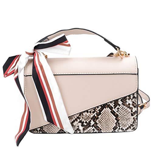 - Women Mini Satchels - Girls Split Fashion Vegan Leather Strap Crossbody Bag - Scarf Trim Mini Messenger Shoulder Bag (White)