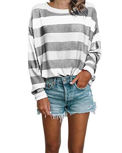 (Women FashionCasual Tops Round Neck Long Sleeve Drop Shoulder Stripe Printed Shirt)