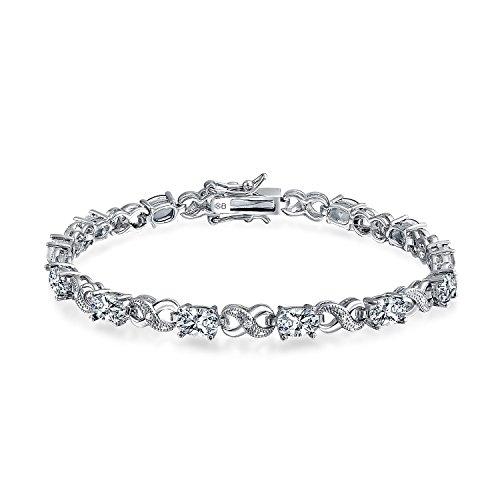 Figure Eight Tennis Bracelet (Bling Jewelry CZ Figure Eight Infinity Tennis Bracelet 7in Rhodium Plated)