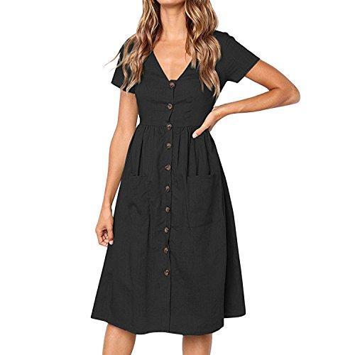 Unie Devant Fashion Robe Midi avec Courte Femme Col Vintage Elgant Manche Noir Startreene Poche Chic Bouton V Couleur Z0SqOWx