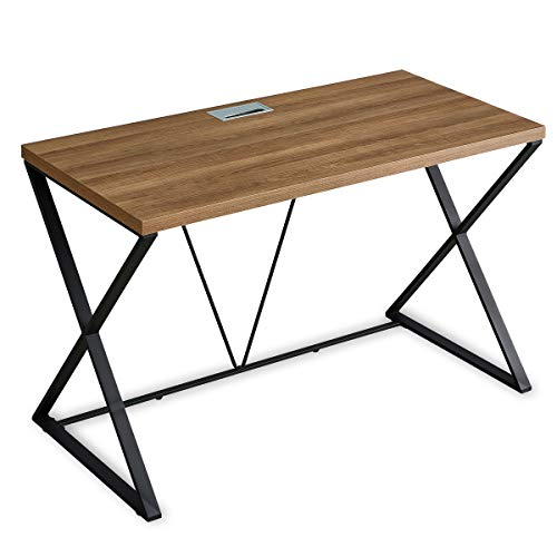 DYH Computer Desk, Industrial Wood and Metal X Writing Desk, Wood Table for Home Office, 47 inch