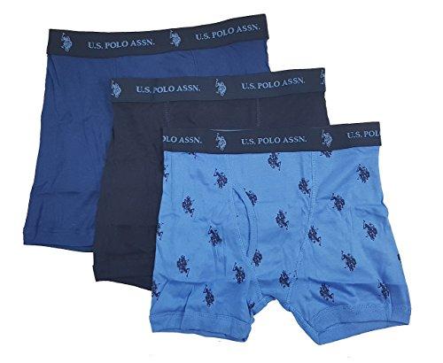 U.S. Polo Assn. Men's 3 Pack Cotton Boxer Brief (Navy/Navy Blue/Blue, XL)