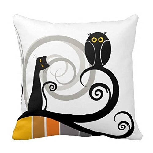 Lr Sham - Pillow Cover for Sofa Cat and Owl Throw Pillow Case Decorative Canvas Accent Pillow Sham