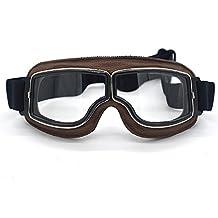 Evomosa Leather Motocross Motorcycle ATV Off-Road Eyewear Snowboard Ski Bikes Helmet Goggles Glasses Sunglasses Sports Vintage Aviator Pilot Style Motorcycle Cruiser Scooter Goggle
