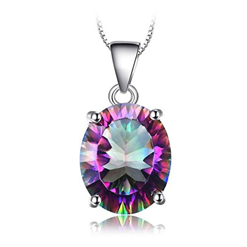 VERA NOVA JEWELRY Enchanting 3.5ct Genuine Rainbow Fire Mystic Topaz Concave Oval 925 Sterling Silver Pendant Necklace