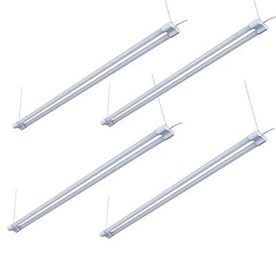 4' LED Shop Light for Garage Workbench Ceiling, Double Integrated LED Tube Lights, 4ft 40Watt 4000LM LED Utility Shop Lighting Fixture, 80 Watt Fluorescent Equivalent (4PACK, 6500K Day White)