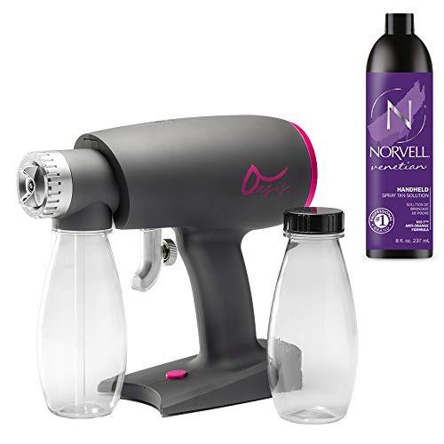 Oasis Spray Tan Machine Kit Bundled with Norvell Venetian Airbrush Spray Tanning Sunless Solution
