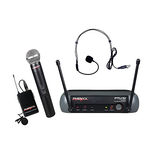 Phenyx Pro PTU-51 Entry-Level UHF Dual Wireless Microphone System-Portable Size-1 Handheld Mic 1 Headset 1 Lapel Mic 1 Bodypack-For DJ, Church, School, Presentation