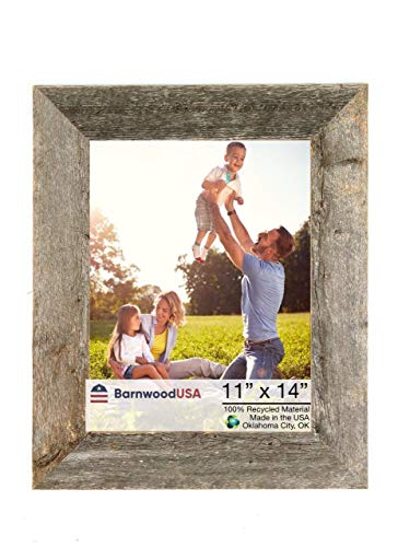 BarnwoodUSA Rustic 11 by 14 Inch Picture Frame with 1 1/2 Inch Wide Molding - 100% Reclaimed Wood, Weathered Gray