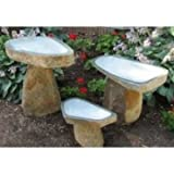 Cheap Stone Age Creations BB-BO-1 Granite Boulder Birdbath, Natural, Large