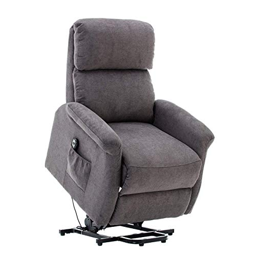 BONZY Recliner Classic Power Lift Chair Soft and Warm Fabric with Remote Control for Gentle Motor, Gray