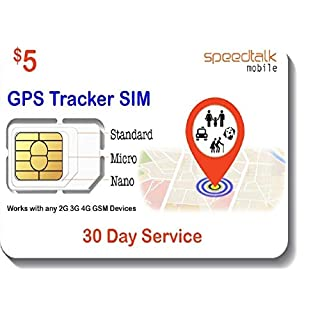 GSM SIM Card for GPS Trackers - Pet Kid Senior Vehicle Tracking Devices - 30 Day Service Includes US Canada & Mexico Roaming