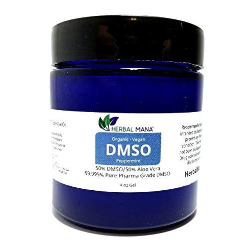 DMSO 4 oz Gel 50/50 Aloe Vera - Peppermint Essential Oil Sce