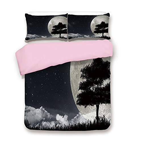 Pink Duvet Cover Set,Queen Size,Silhouette of a Ancient Tree Against Giant Moon Starry Sky Fantastic Decorative,Decorative 3 Piece Bedding Set with 2 Pillow Sham,Best Gift For Girls Women,Silver ()