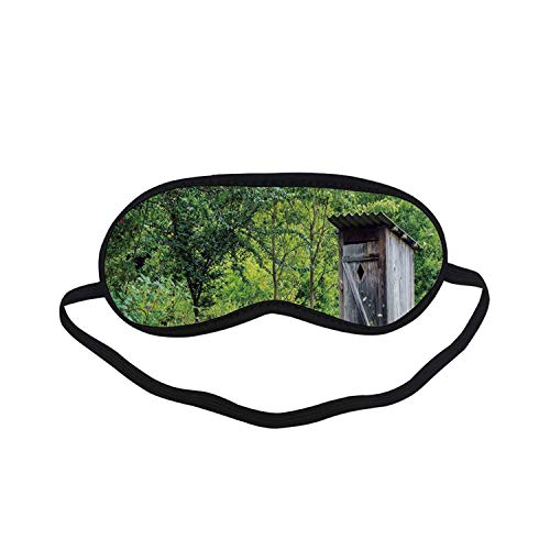 Outhouse Fashion Black Printed Sleep Mask,Old Ancient Cottage Outhouse in a Spring Mountian Forest Woods Image for Bedroom,7.1