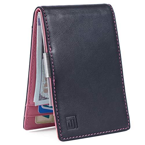 Super Slim Minimalist Wallet for Men, Genuine Leather, Money Clip, RFID Blocking, Front Pocket - Black Pink Wallet, Bifold, Card Holder, Gift ()