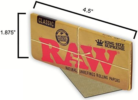 CLIPPER LIGHTER RAW King Size Supreme Rolling Papers THREE GLASS TIPS