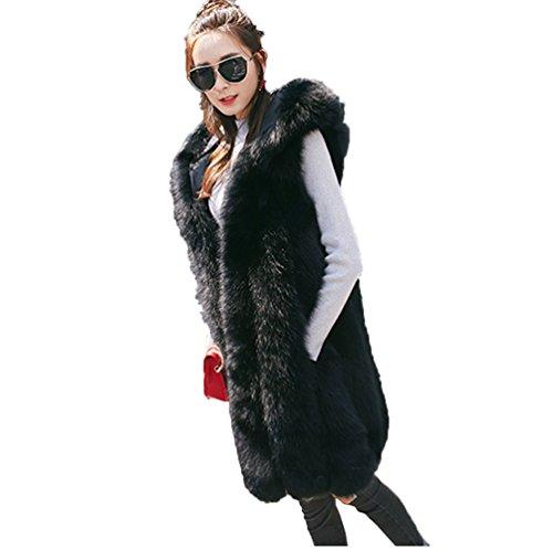 賠償予測アサート女性の毛皮の毛皮のベスト毛皮の毛皮の垂直フード付き毛皮の1つのスエードの縫い毛皮のベストファッションベスト