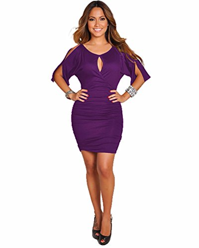 BIUBIU Women's Cold Shoulder Bodycon Bandage Party Midi Dress Purple L (Dress Black Purple)