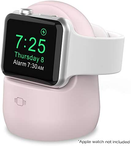 AhaStyle silicone charging stand for Apple Watch Series 5/4/3/2/1 (44/42/40 / 38mm), supports night mode 【Adapters NOT included roze (pink)