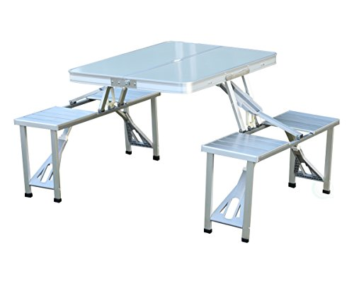 PLAYBERG Aluminum Portable Picnic Folding Table with Two Benches (Gray)