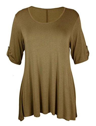21fashion para de Negro Talla manga Camiseta mujer corta 6w76vZrq