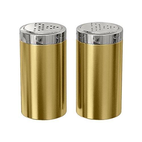 - nu steel TG-JSP-G Jumbo Salt & Pepper Shaker Set of 2, 15 Oz. Stainless Steel with Gold Shiny Finish, Small,