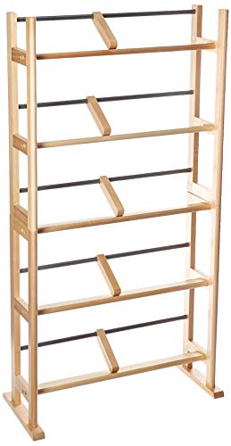 Atlantic Element Media Storage Rack - Holds up to 230 CDs or 150 DVDs, Contemporary Wood & Metal Design with Wide feet for Greater Stability, PN35535687 in Maple (Renewed)