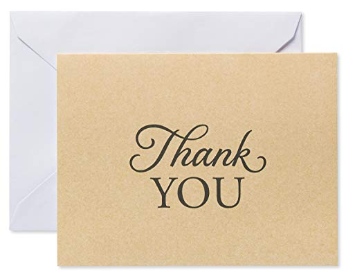American Greetings Brown Kraft-Style Thank You Cards and White Envelopes, 50-Count (Duck Thank You Cards)