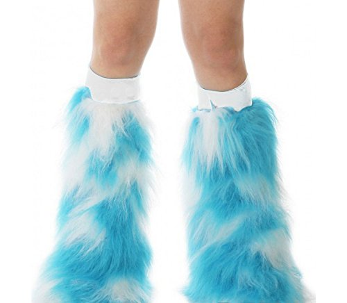 [TrYptiX Women's Fluffy Leg Warmers Turquoise White One Size White Kneeband] (Furry Rave Boots)