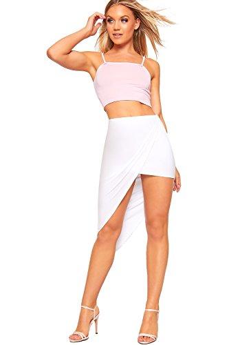 WearAll Femmes Hi Lo Tremp Ourlet Asymtrique Jupe Nouveau Dames tendue Plaine De Base Court - 36-42 Blanc