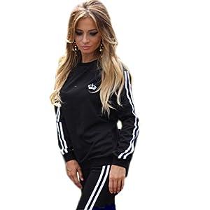 Akery Womens Sports Pullover Hoodie Tracksuit Sweat Pants Set 2 Pcs