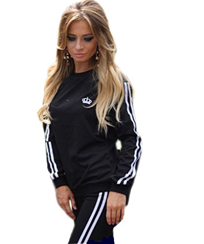 Akery Womens Sports Pullover Hoodie Tracksuit Sweat Pants Set 2 Pcs