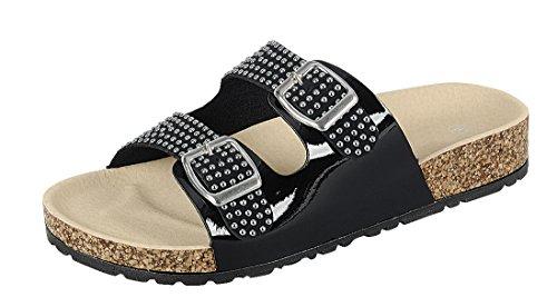 Cambridge Select Femmes Bout Ouvert Bout Ouvert Clouté Deux Sangle Boucle Plate Sandale Noir
