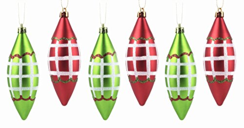 iPEGTOP 115mm/4.5 6ct Shatterproof Christmas Ball Ornaments, Red and Green Teardrop Hand-Painted Xmas Tree Decorations Baubles for Crafting Festival Wedding Party Home Décor