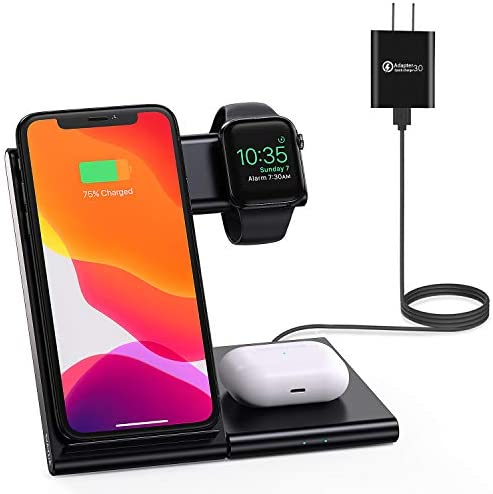 WATOE Wireless Charger 3 in 1 Qi-Certified Fast Charging Station,Compatible iPhone 12/SE/11/11 Pro/X/XS/XR/Xs Max/8 Plus,Charging Stand for AirPods Pro/2, Compatible Apple Watch Series 6/5/4/3/2/SE