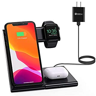 WATOE Wireless Charger 3 in 1 Qi-Certified Fast Charging Station,Compatible iPhone SE/11/11 Pro/X/XS/XR/Xs Max/8 Plus,Wireless charging stand for AirPods Pro/2, Compatible Apple Watch Series 5/4/3/2/1