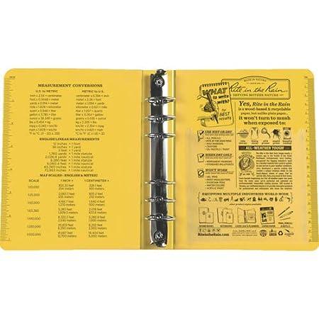 Yellow Binder No. 210 6 1//8 x 7 7//8 Rite in the Rain Weatherproof 1 Ring Binder