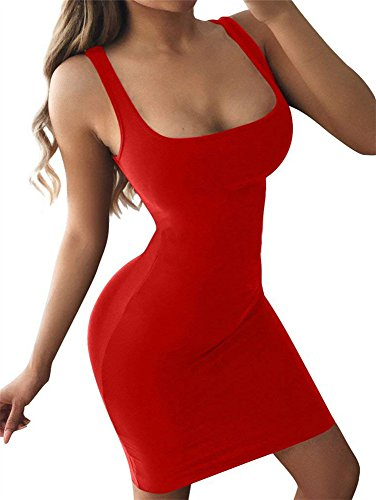 GOBLES Women's Casual Summer Sleeveless Mini Sexy Bodycon Tank Club Dress Red - Tight Red Dress