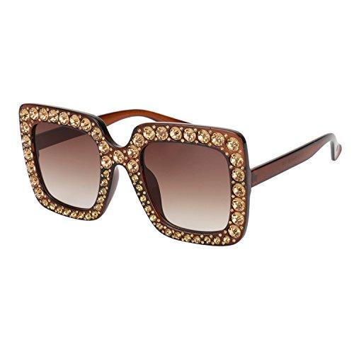 Brown Replica Sunglasses - ROYAL GIRL Sunglasses For Women Oversized Square Luxury Crystal Frame Brand Designer Fashion Glasses (Brown-Gradient, 67)