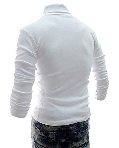 Veste En Maille Longues Blanc Roulé Pull Homme Manches Col Chandails BTUXYTxq6w