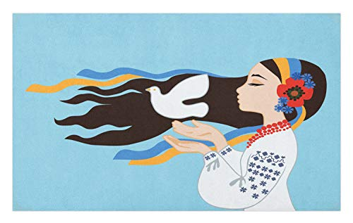 Ambesonne Hippie Doormat, The Girl Wearing Ukranian Ethnic Costume and Hairband Sends a Dove for World Peace, Decorative Polyester Floor Mat with Non-Skid Backing, 30 W X 18 L Inches, Multicolor]()
