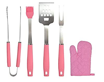 Chef Basics Pink 5 Piece BBQ Tool Set And Soft Case by KOVOT