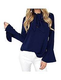 YACUN Women's Long Sleeve Bow T-shirt Bell Sleeve Tops
