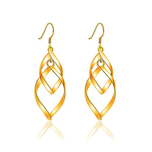 Kalapure 18K Gold Plated Double Twisted Linear Marquise Loops Design Drop Dangle Earrings (Gold Design Earrings)