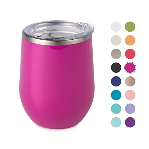 Maars Bev Stainless Steel Stemless Wine Glass Tumbler with Lid, Vacuum Insulated 12 oz Fuchsia Cup   Spill Proof, Travel Friendly, Fun Cocktail Drinkware