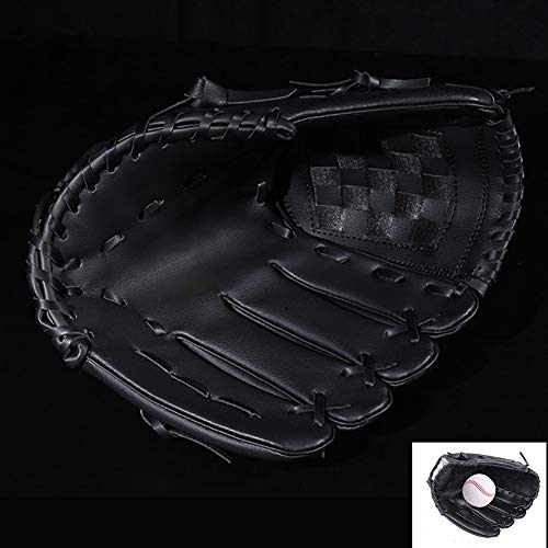 XBQD Baseball Glove Adult Baseball Glove Youth Hand Throw Glove Series Right Or Left Hand Throw Baseball Strike Gloves Adult Thick Pu Imitation Leather Infield Gloves Black-9.5inch