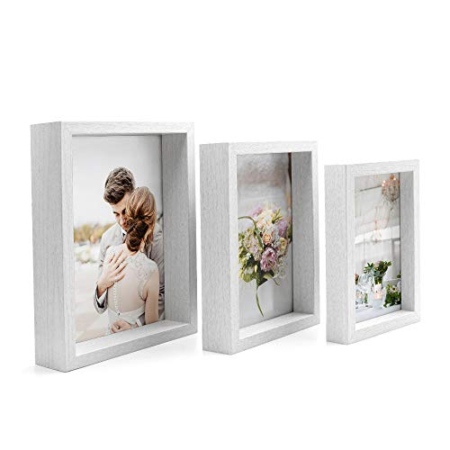 Afuly White Deep Box Picture Frames 4x6 5x7 and 6x8 Three Display Shadow Box Cases for Gallery Wall Hanging and Desk Standing Wedding Gift,Set of 3